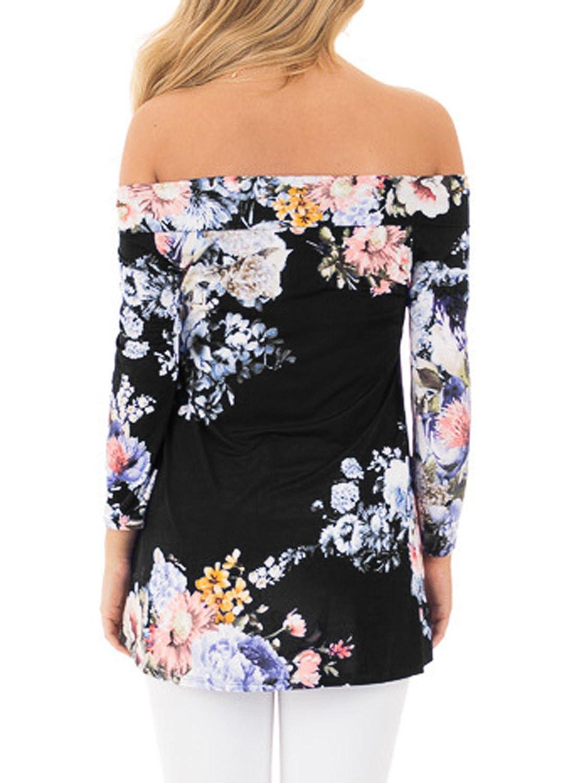Nicetage Langarmshirt Damen T Shirt Blumen Rundhals Pullover Bluse Oberteil  Tops: Amazon.de: Bekleidung