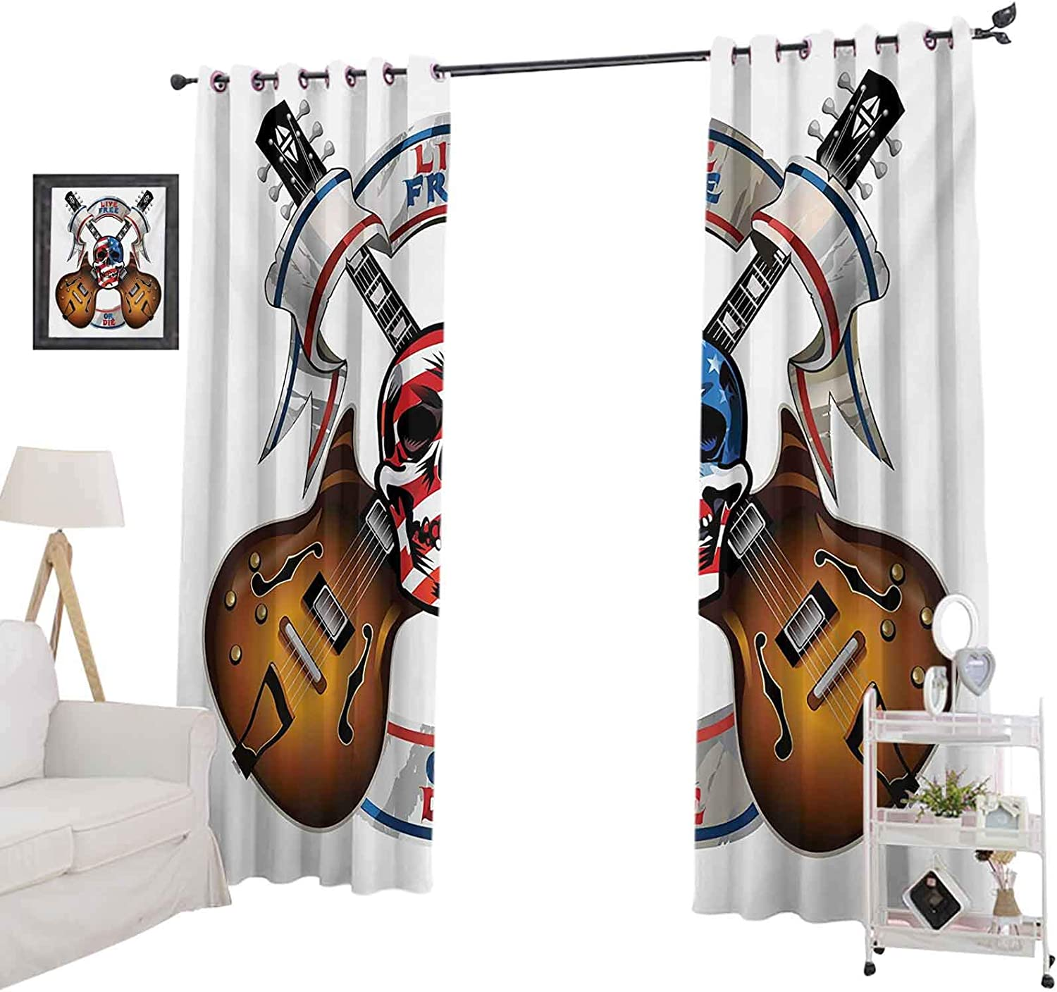 """YUAZHOQI Blackout Window Curtain Crossed Electric Guitars with Skull American Flag Live Free Or Die Biker Culture for Kids Decor Customized Curtains 52"""" x 95"""" Multicolor"""