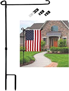 Premium Garden Flag Stand Pole Holder Metal Powder-Coated Weather-Proof with one Tiger Clip and Two Spring Stoppers Without Flag