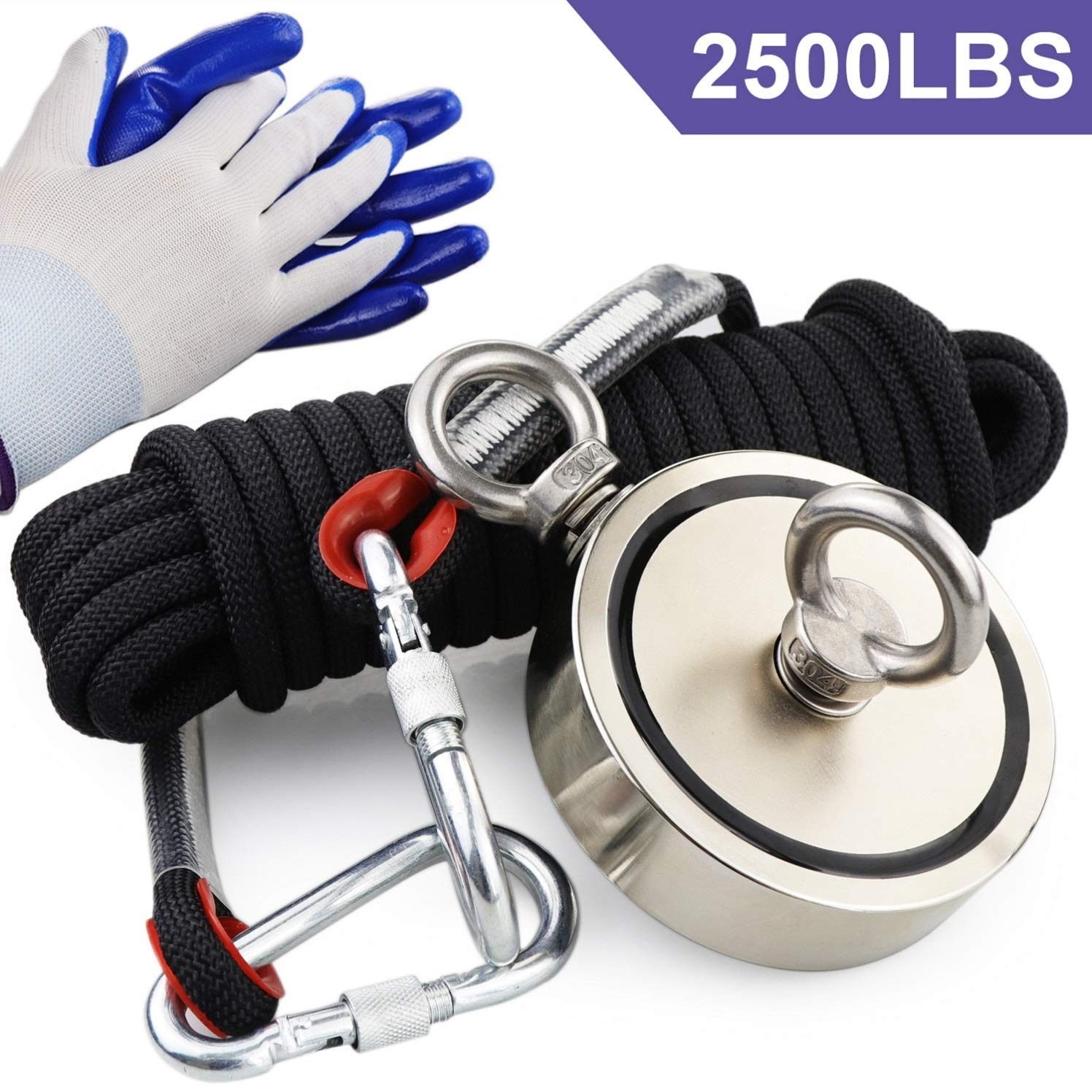 Double Sided Neodymium Fishing Magnet,Combined 2500 lbs(1136KG) Pulling Force Rare Earth Magnets with high Strength Polyester Rope and Protective Gloves
