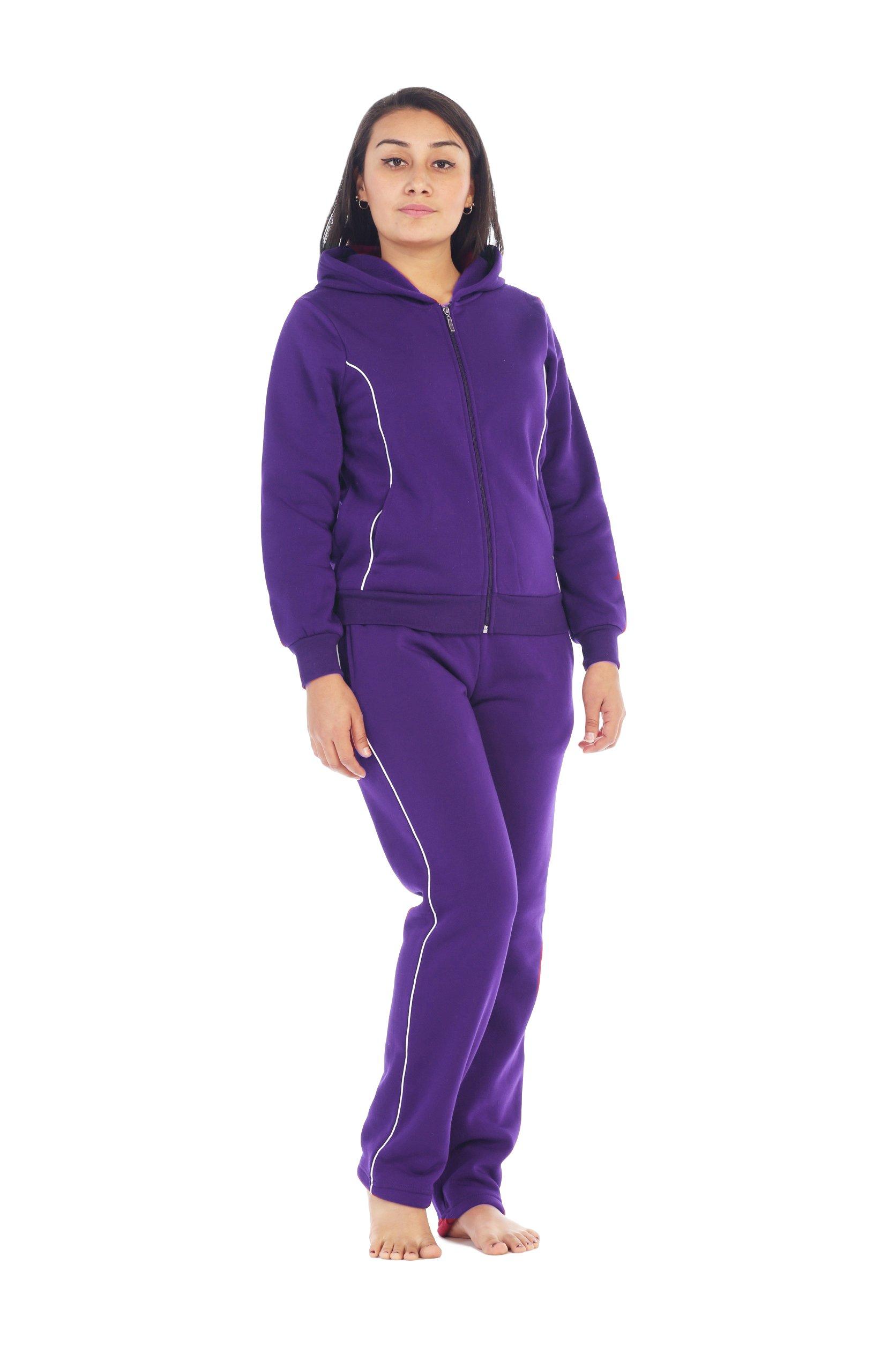 unik Women Fleece Sweatsuit Set, Purple Size XXX-Large