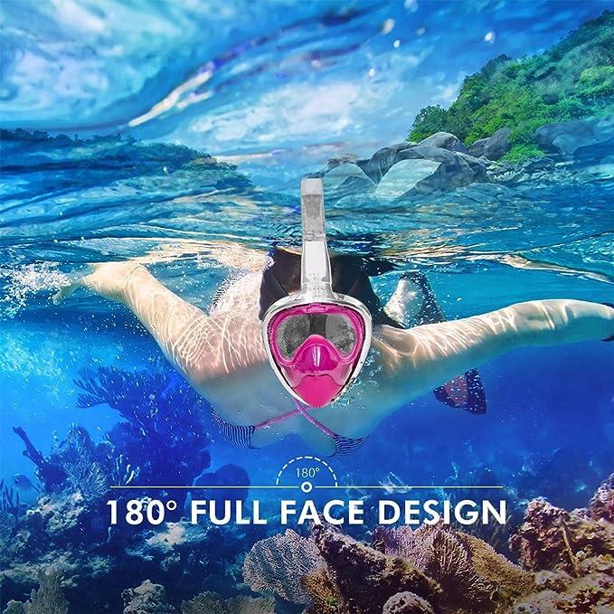 Máscara de Buceo para Snorkel , Meerveil 180 Grados Máscara Facial Completa de Esnórquel con Antifugas Antivaho, Vidrio Templado y Silicona no tóxica Mejor ...