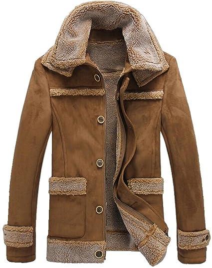 88b8e0a27 Men's Winter Thick Warm Vintage Faux Fur Coat Parka Bomber Flight Suede  Sheepskin Leather Jacket Overcoat