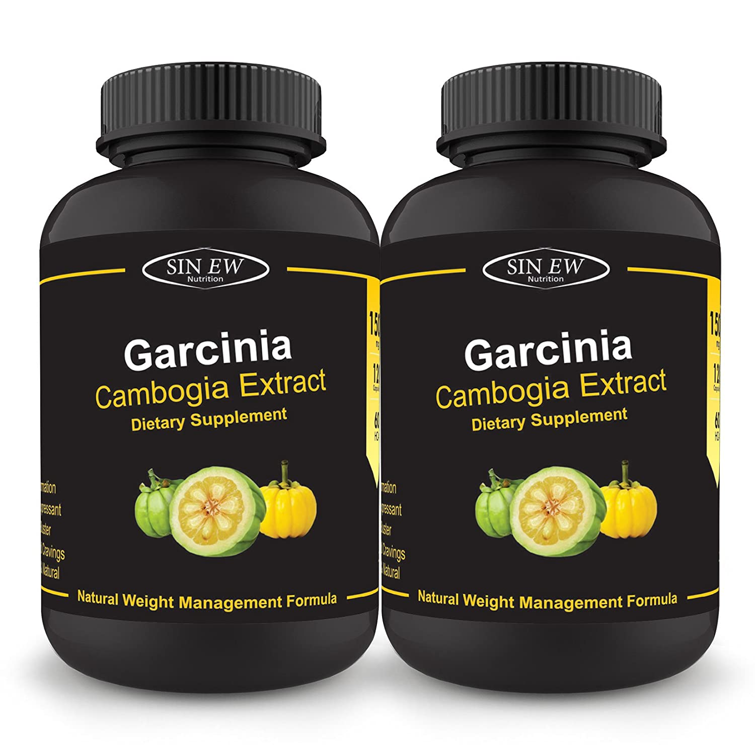 Sinew Nutrition Garcinia Cambogia Extract -(120 Capsules - Pack of 2) 1500 mg Per Serving, 100 % Veg, Pure & Natural Weight Management & Appetite Suppressant Supplement