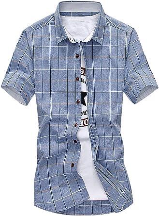 Mancave Men Turndown Collar Cotton Contrast W Pattern Slim Fit Summer Shirt