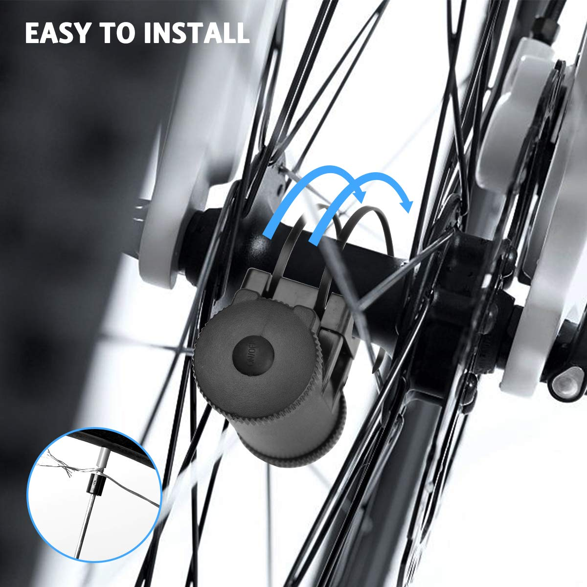 AOYOO Bicycle Wheel Light Night Light (1 Tire Pack) Waterproof 7 Color Outdoor Lighting Bicycle Tire Accessories You Can Choose Your Favorite Color 18 Flash Pattern Personality Selection, Safety Spoke by AOYOO (Image #3)