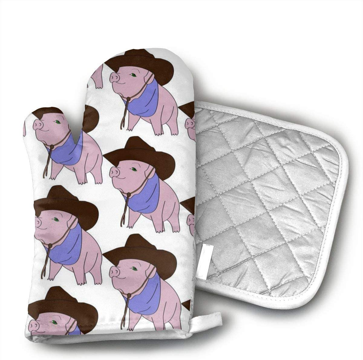Teuwia Cowboy Pig Oven Mitts and Pot Holders Baking Oven Gloves Hot Pads Set Heat Resistant for Finger Hand Wrist Protection