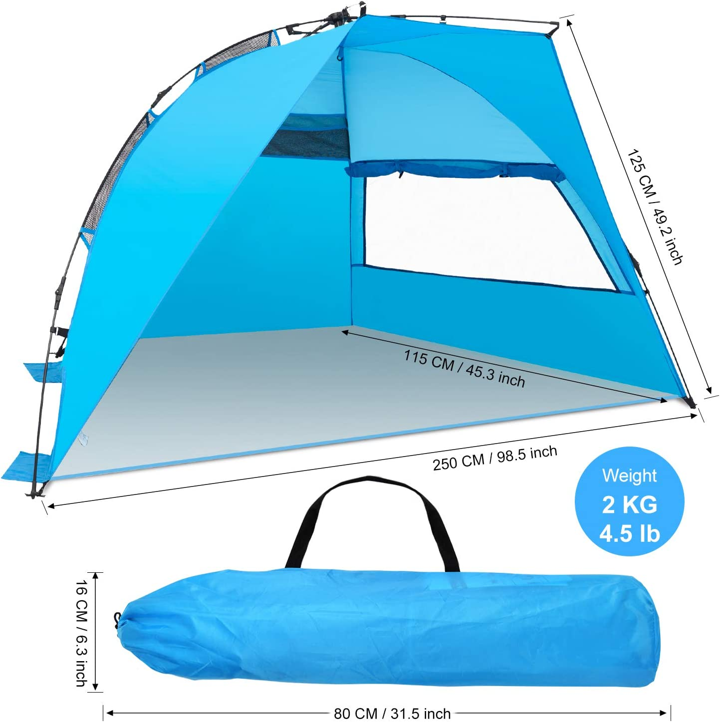 Picnic Fishing Camping Wesimplelife Automatic Beach Tent Sun Shelter 4 Person Outdoors Instant Beach Shelter Tent UPF 50+ UV Protection Sun Shade Tent with Windows Windproof for Beach