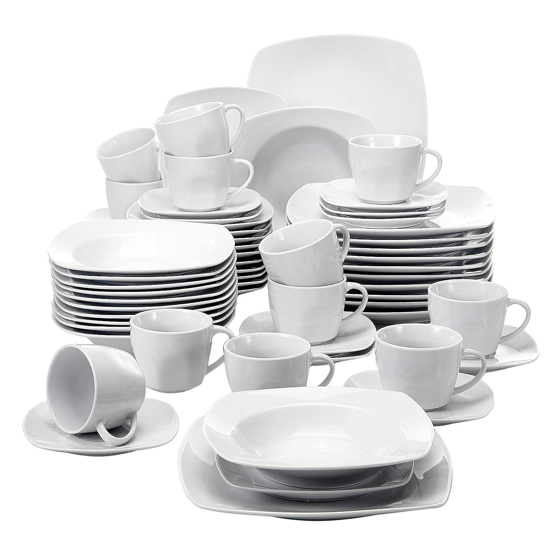 Malacasa, Série Julia, 60pcs Services de Table Complets Porcelaine, 12 Assiettes Plates, 12 Assiettes Creuse à Soupe, 12 Assiettes à Dessert, 12 Tasses, 12 Soucoupes, Vaisselles pour 12 Personnes