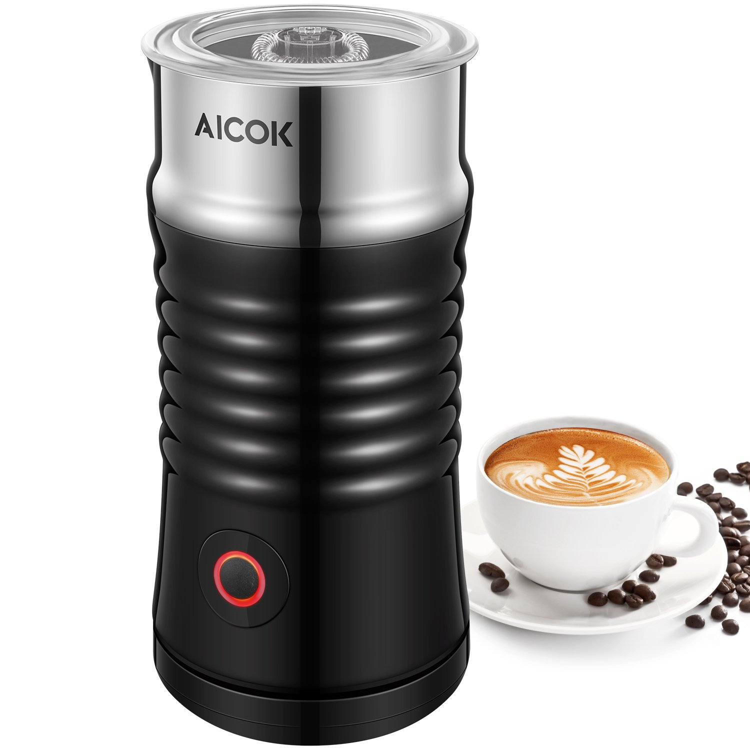 Milk Frother, Aicok Electric Milk Steamer with Hot or Cold Milk Froth with Double Wall, Strix Control, Non-Stick Coating, Silent Operation, Milk Warmer, for Cappuccino, Hot Chocolate, Latte, Coffee