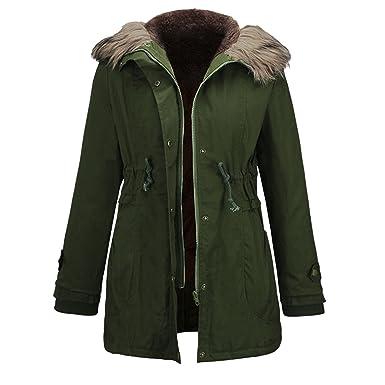 Petalum Damen Jacke Winter Parka Mantel Kunstfell Casual Fashion Beiläufig  Lässig Kapuze Langarm Warm Gefüttert Gürtel 9b96f8f2a2