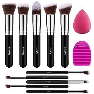 Syntus Makeup Brush Set, 10 Makeup Brushes & 1 Blender Sponge & 1 Brush Cleaner Premium Synthetic Foundation Powder Kabuki Blush Concealer Eye Shadow Makeup Brush Kit, Black Silver