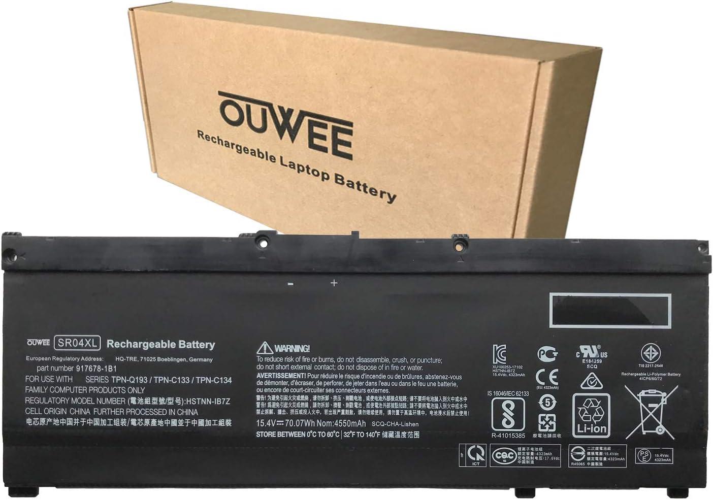 OUWEE SR04XL Laptop Battery Compatible with HP Pavilion 15-CB000 Power 15-CB000 Omen 15-CE000 15-CE015DX 15-DC0000 Series 917678-1B1 HSTNN-IB7Z HSTNN-DB7W 917724-855 917678-2B1 15.4V 70.07Wh