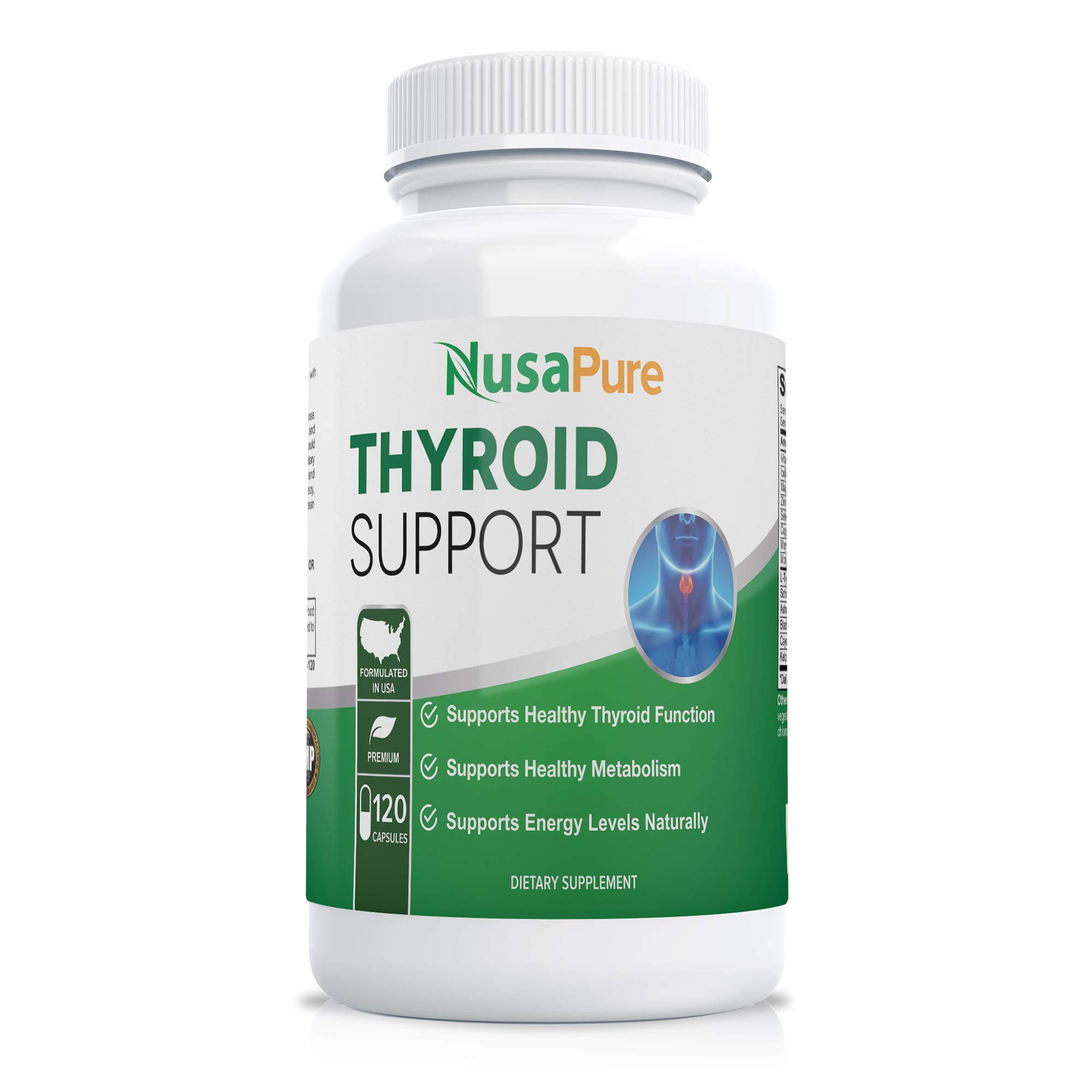 Premium Thyroid Support Supplement (Non-GMO) 120 caps for with Ashwaganda, Iodine, Zinc, kelp, Vitamin B12, L-Tyrosine, Selenium, Copper for Thyroid Energy*
