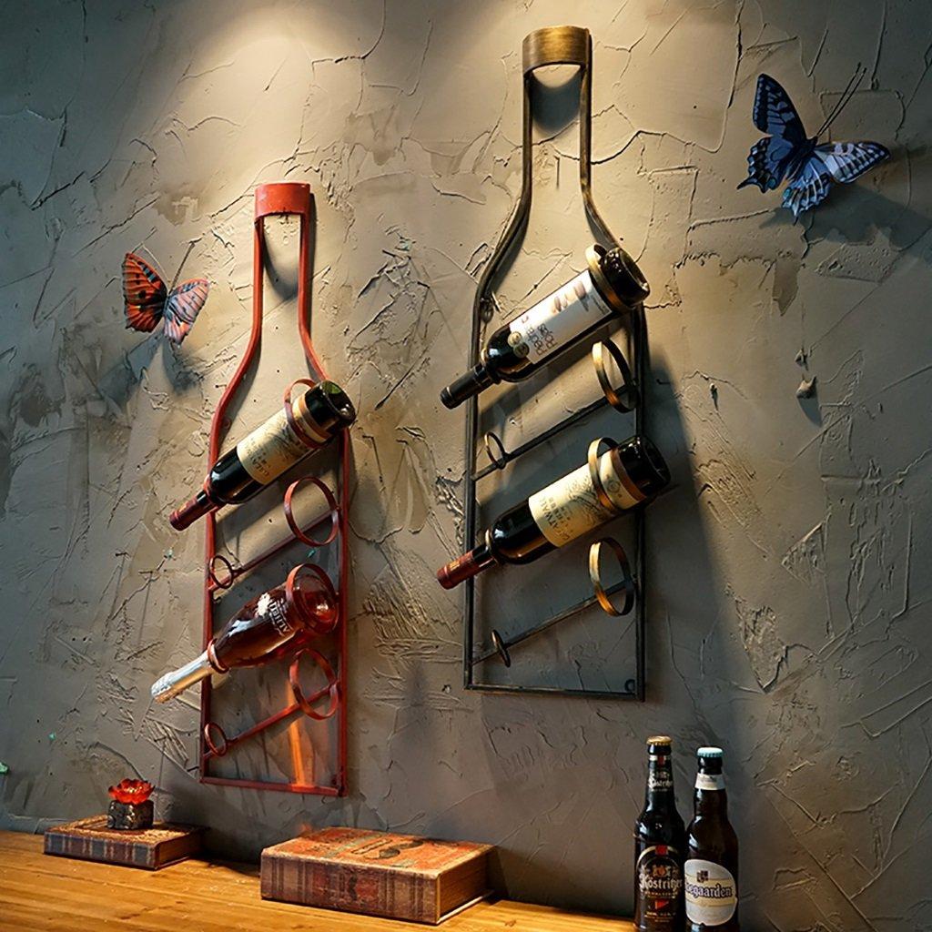 Colore : A QBDS Portabottiglie da Parete Stile Europeo cremagliera da Vino Vintage in Ferro battuto per Bar Ristorante Ciondolo Decorativo portabottiglie da Vino