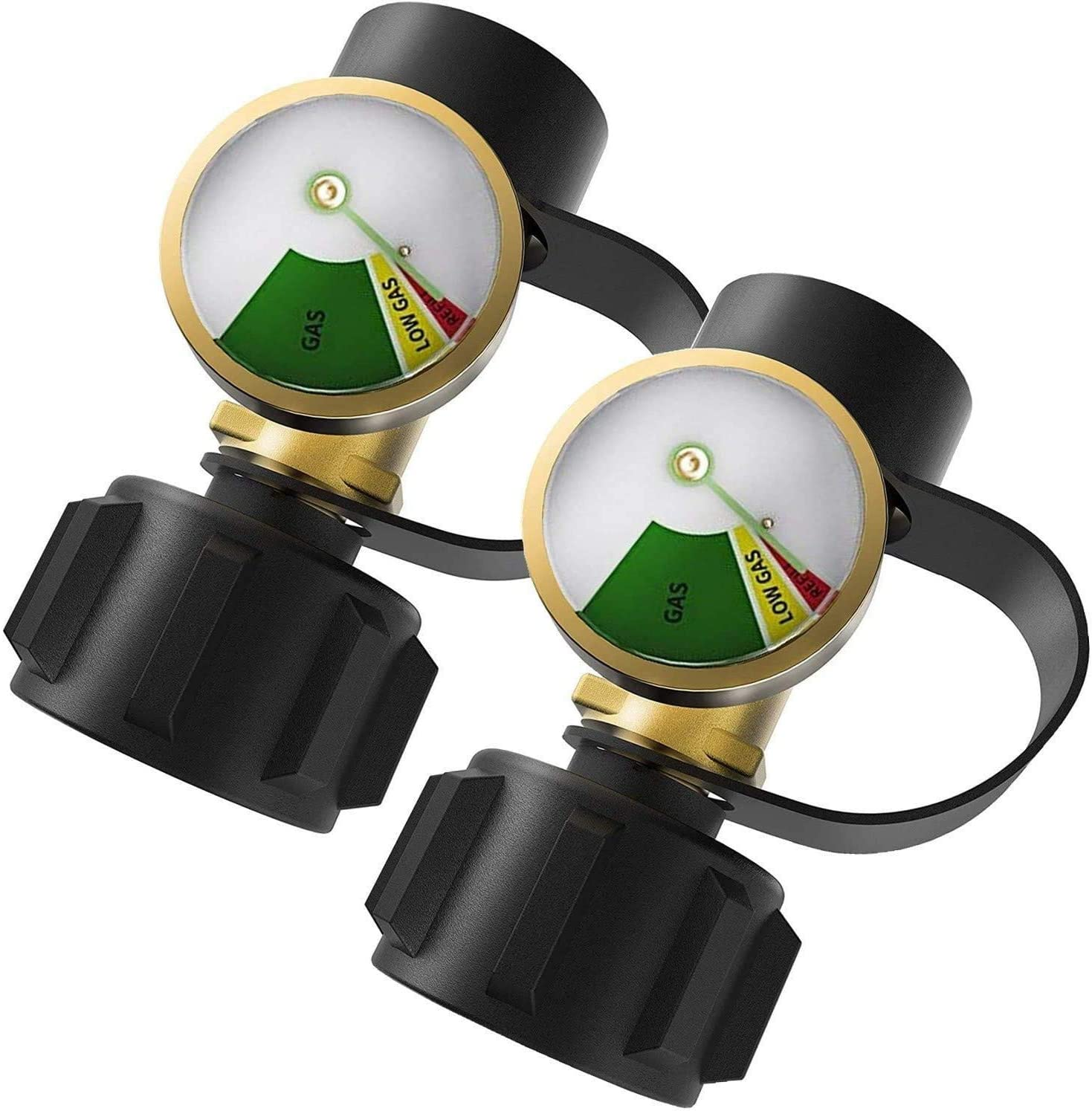DOZYANT Propane Tank Gauge Level Indicator Leak Detector Gas Pressure Meter Universal for RV Camper, Cylinder, BBQ Gas Grill, Heater and More Appliances-Type 1 Connection - 2 Pack