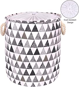 NZQXJXZ 19.7-Inches Thickened Large Laundry Basket, Laundry Hamper with Durable Cotton Handle, Drawstring Waterproof Round Collapsible Storage Basket(Triangle Pattern- Grey)