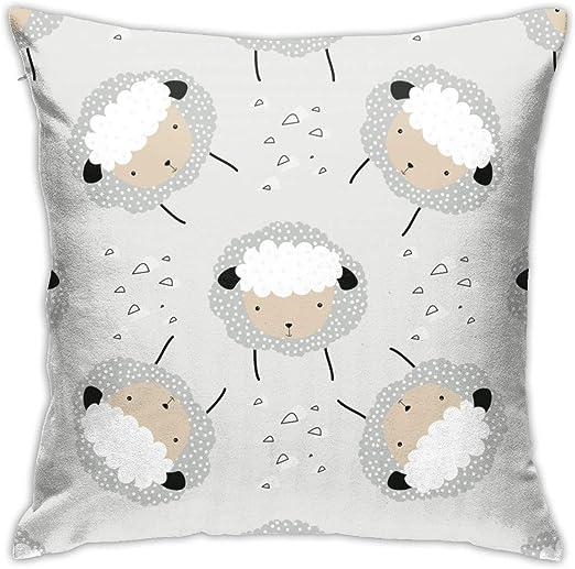 Amazon ドットでかわいいふわふわの羊と漫画落書きイラスト快適でリラックスしたポリエステルプリントクッションカバーケース 枕 オンライン通販