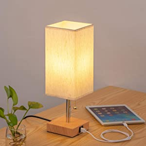Bedside Table Lamp with USB Port - Bedroom Decor Table Lamp Nightstand Pull Chain Wood Lamp with Square Flaxen Fabric Shade for Living Room, Kids Room, College Dorm, Office (LED Bulb Included)