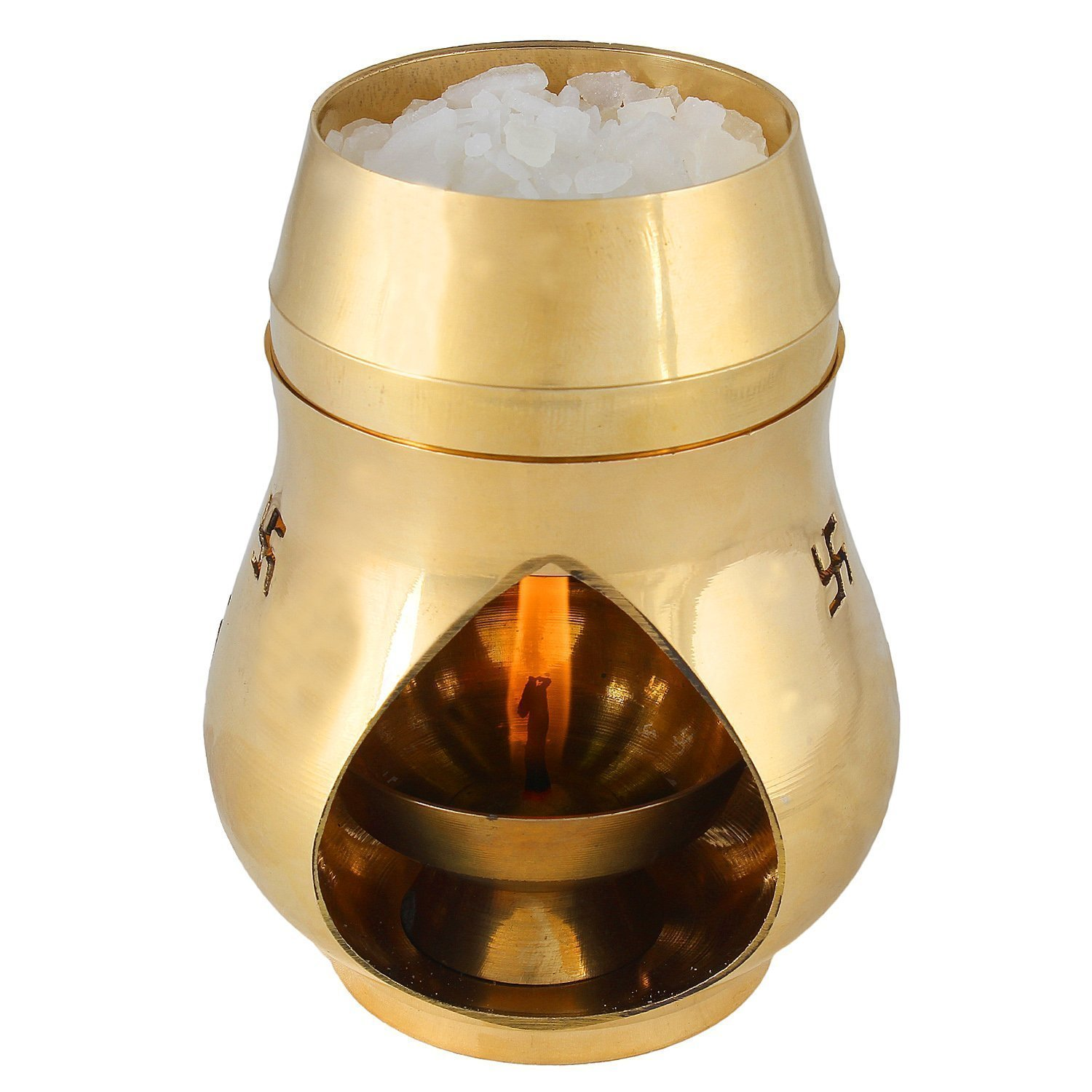 Odishabazaar Positive Aura Brass Camphor Lamp- Protect House From All Negative Energies (gold)