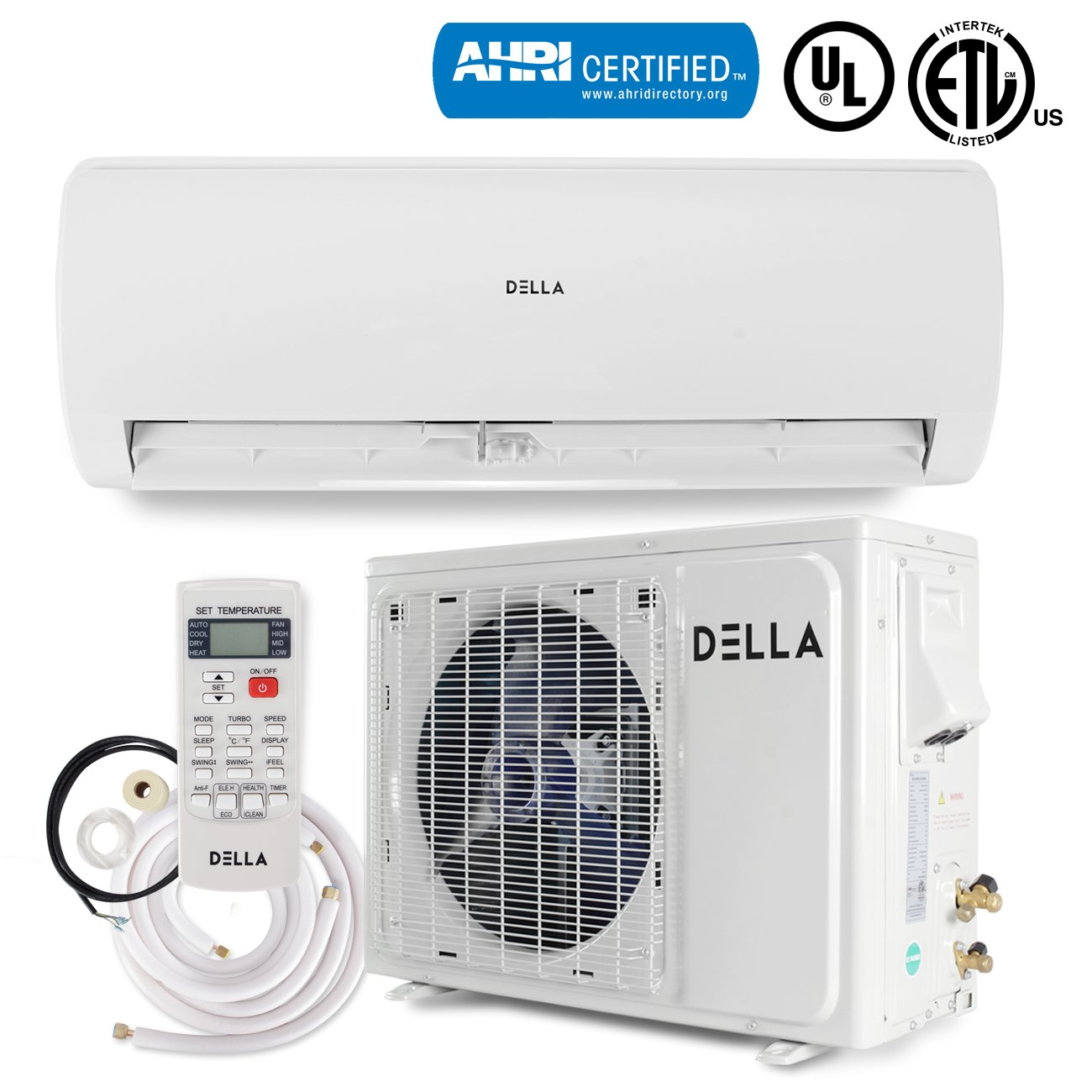 DELLA Ductless Mini Split Inverter Wall Mount AC Air Conditioner with Heat Pump (22 SEER) Energy Saver 12,000 BTU, 230V -AHRI Certified by DELLA
