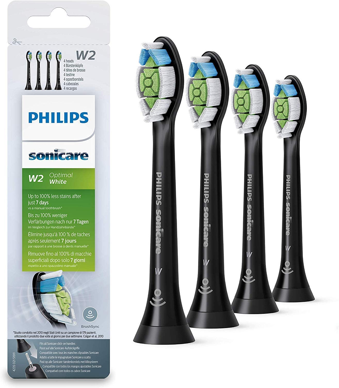 Philips HX6064/11 - Pack con 4 cabezales Optimal White para cepillos Sonicare, color negro: Amazon.es: Salud y cuidado personal