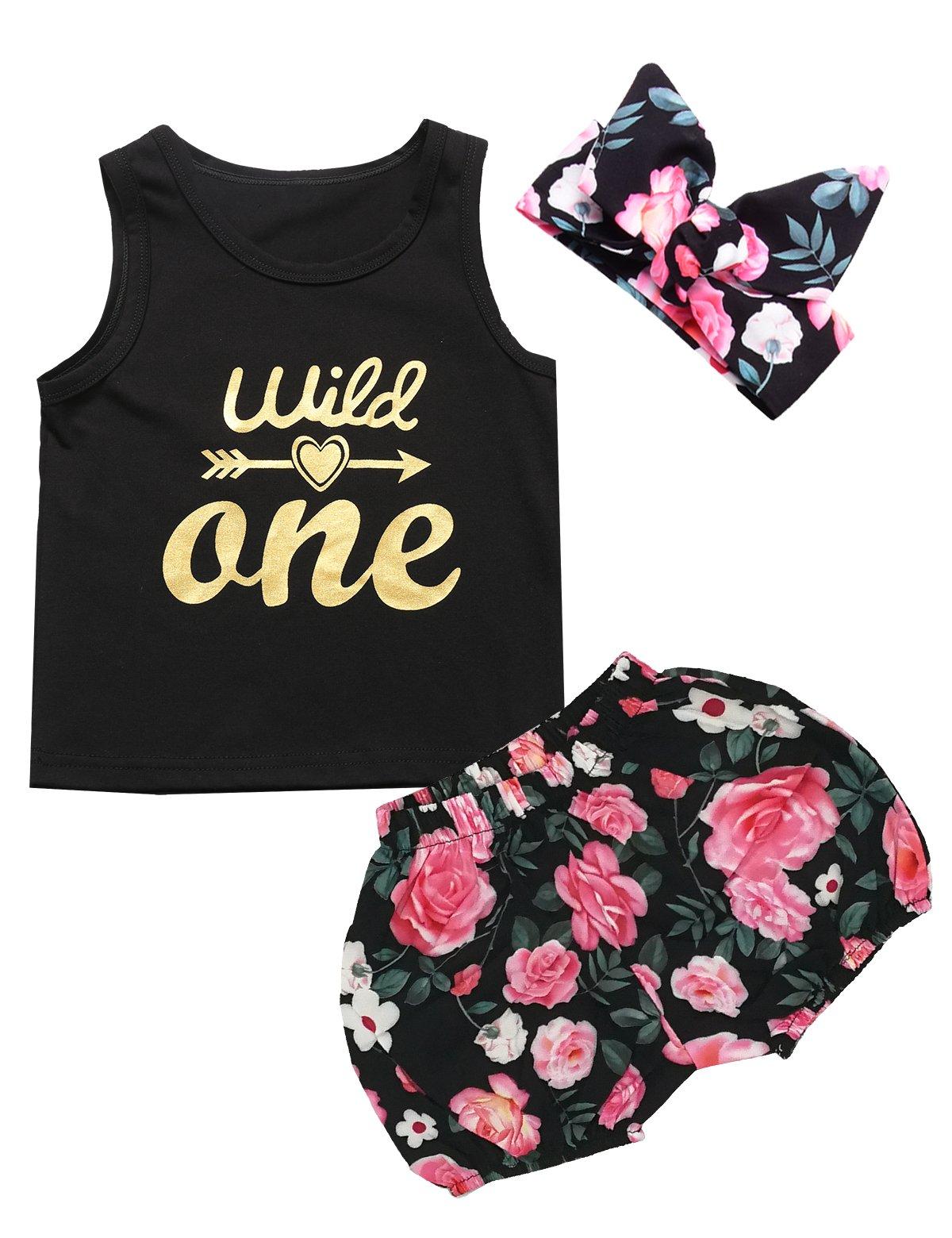 3PCS Outfit Short Set Baby Girls Floral Vest + Pants + Headband (18-24 Months, Black02)