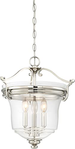 Minka Lavery Ceiling Pendant Chandelier Lighting 3297-613 Audrey s Point, 3-Light Fixture 180 Watts, Polished Nickel