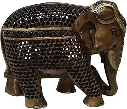 Wooden elephant 8 inches  with baby in belly made of kadam wood