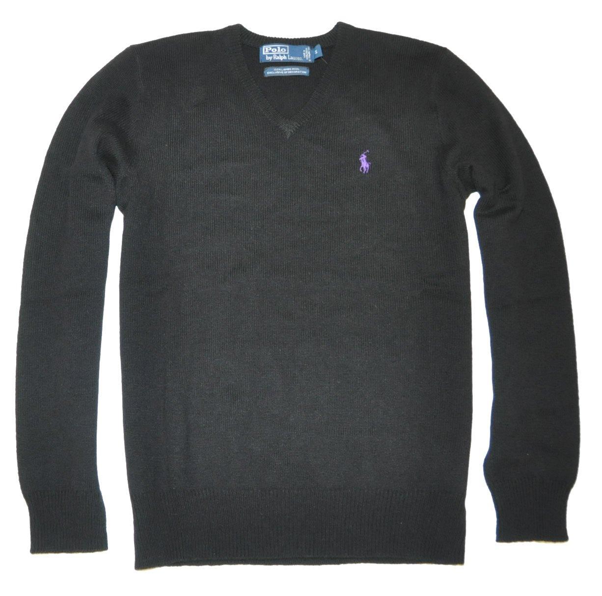 Polo Ralph Lauren Men Wool V-neck Sweater Pullover (M, Black)