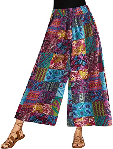 Plus Size BOHO Womens Linen Casual Trousers Summer Wide Leg Pants Holiday Beach