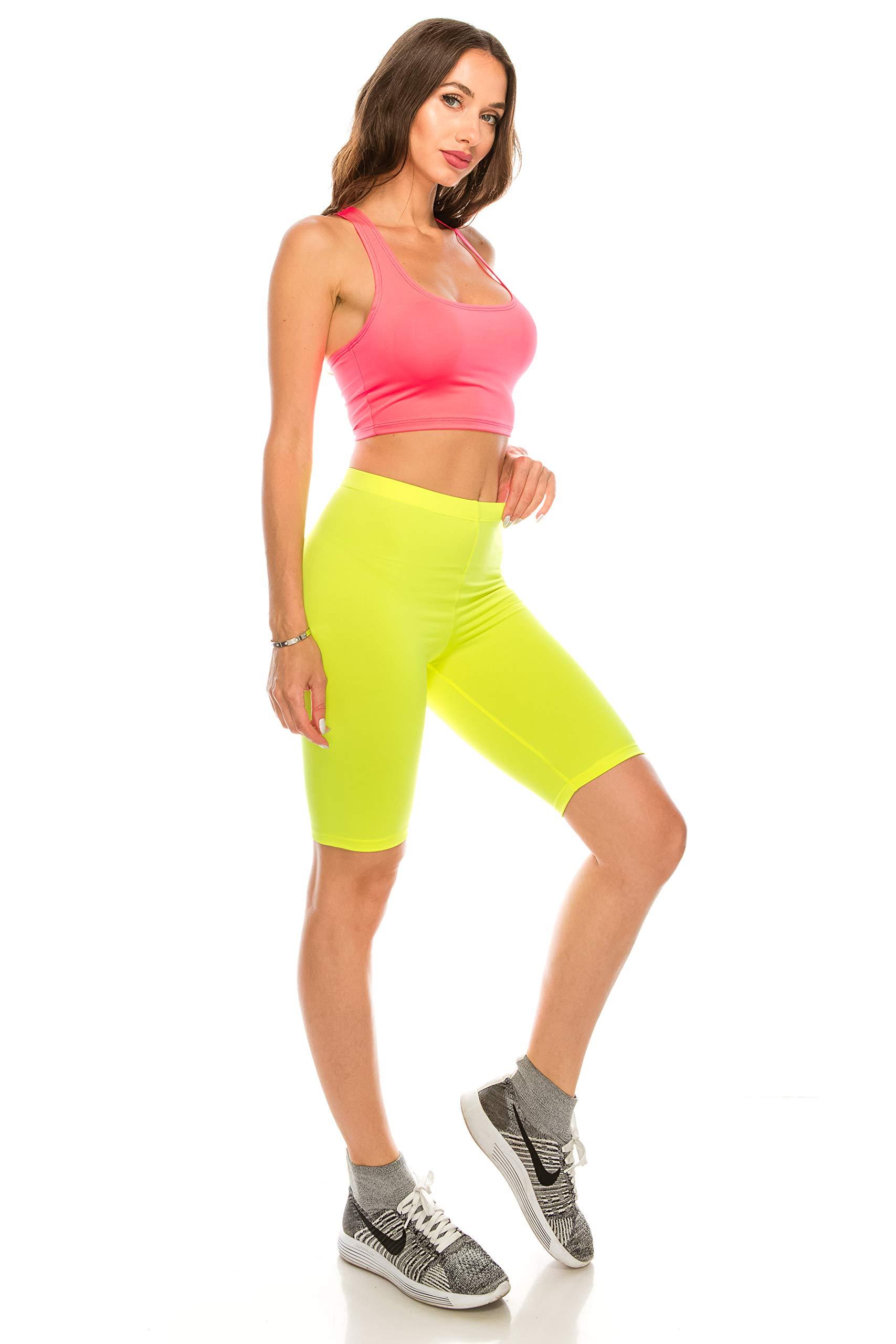 CNC STYLE B002 Women's Tank Crop Top Stretch Active Bodycon Long Bike Shorts w Piece Set, Pink Yellow, Medium by CNC STYLE