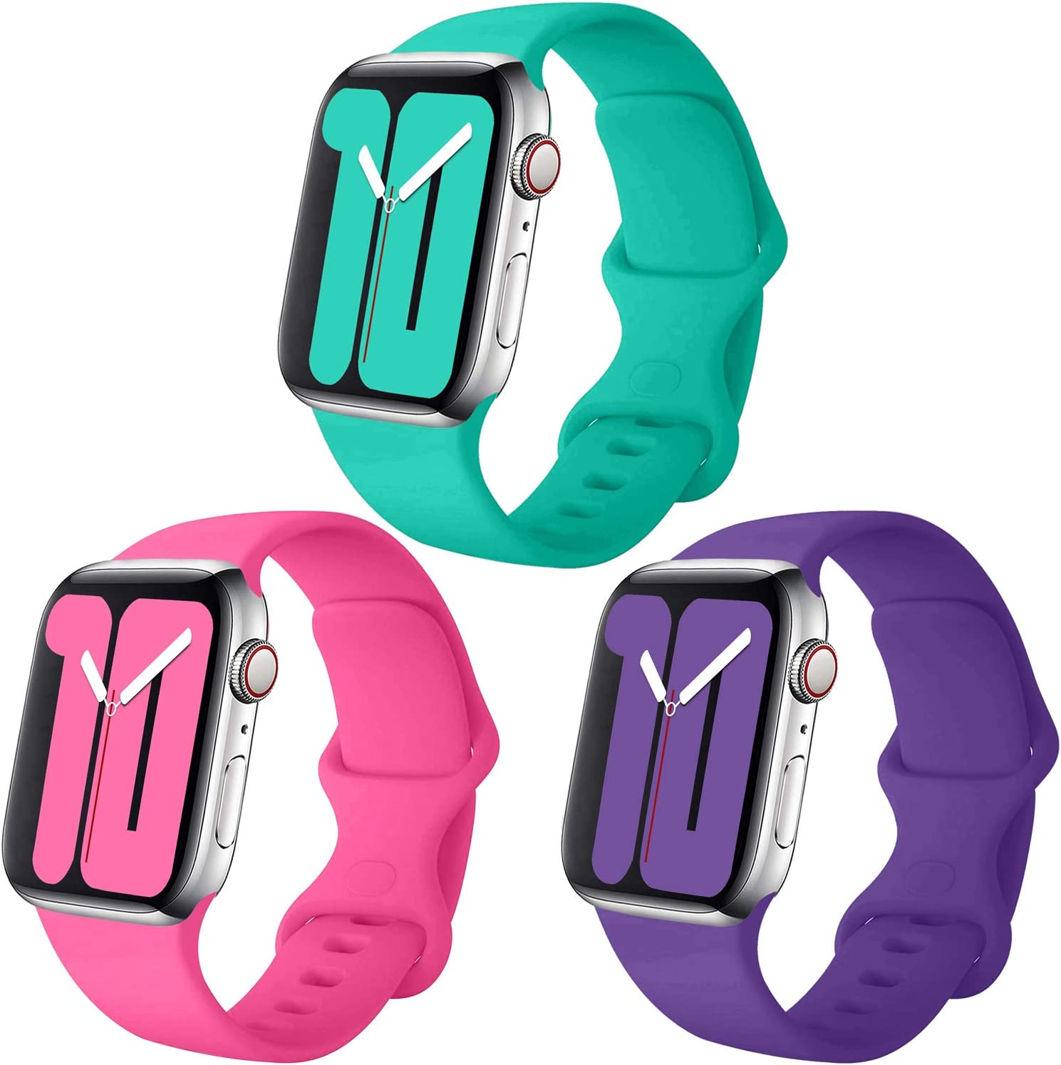 Misker Pack 3 Compatible with Apple Watch Band 38mm 40mm 42mm 44mm,for iWatch Series 5, 4, 3, 2, 1 (Barbie Pink/Deep Purple/Teal, 38mm(40mm)-S/M)