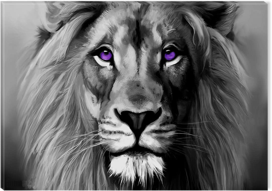 Lion Face Canvas Black White Abstract Eyes Portrait Wall Art Picture Home Decor