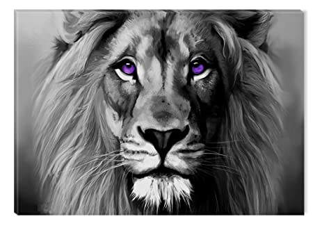 Inspirational art black and white lion portrait canvas wall art abstract picture eco light framed ready