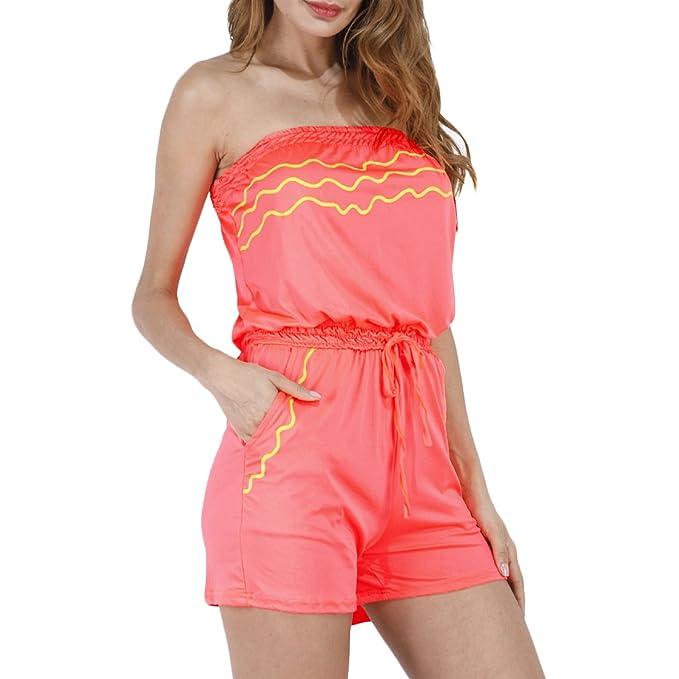 Femme Sans Manches Tunique soutien-gorge Épaules Dénudées Dos nu Mode  Casual Jumpsuit Combinaisons Tenue de plage Robe d été  Amazon.fr   Vêtements et ... 7bd03e80613