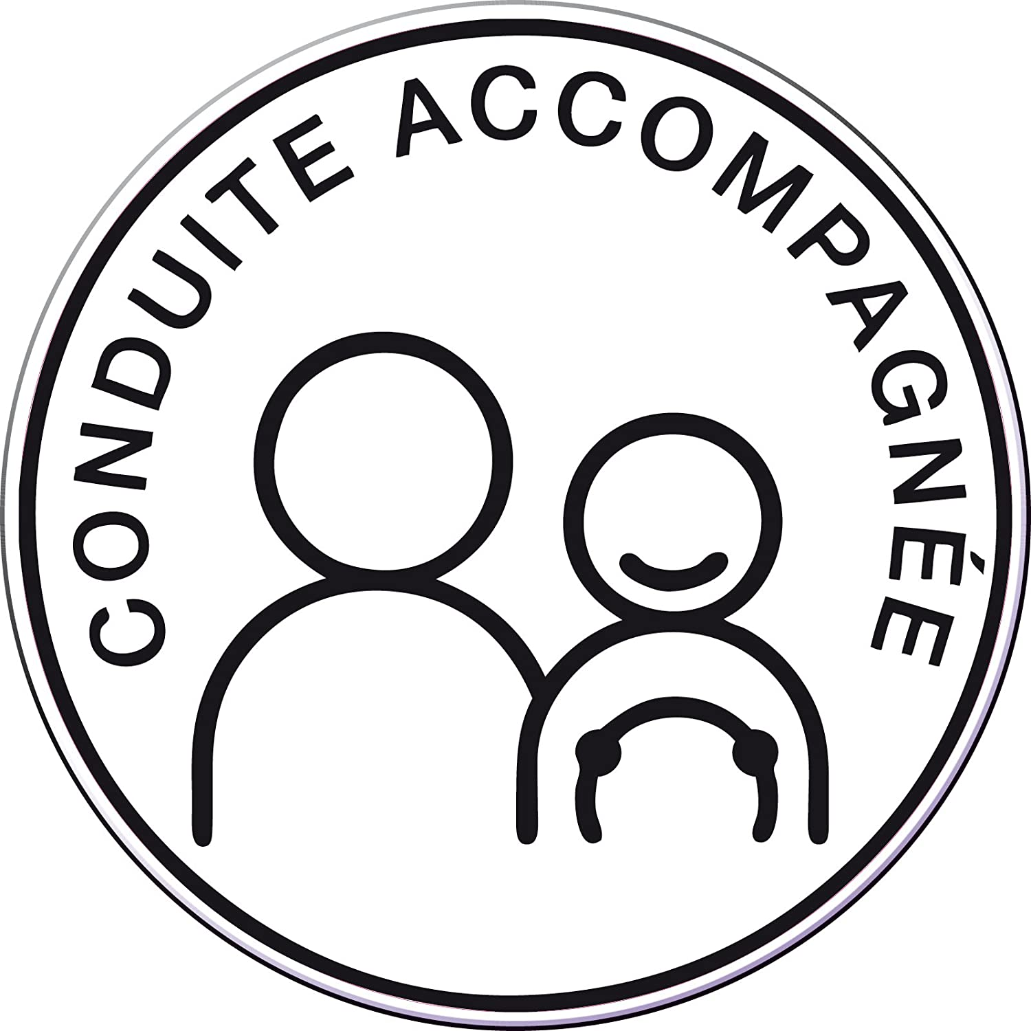 2 Stickers CONDUITE ACCOMPAGNEE ROND lot de 2 15cm ADHESIF