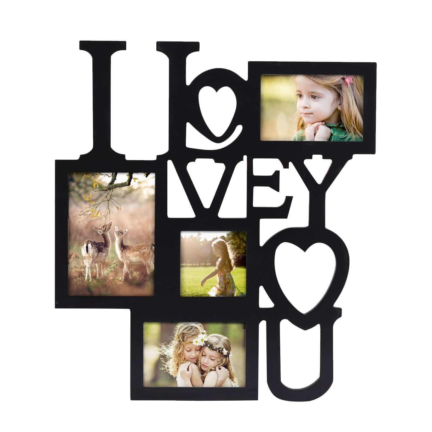 "Adeco 4 Openings Decorative Black Wood ''I Love You'' Collage Wall Hanging Picture Photo Frame, One 5"" x 7"", Two 4"" x 6"", One 4"" x 4"""