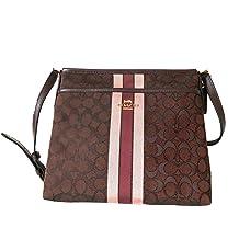 Coach Signature Jacquard Strip Zip File Crossbody Bag (IM/Brown Multi)