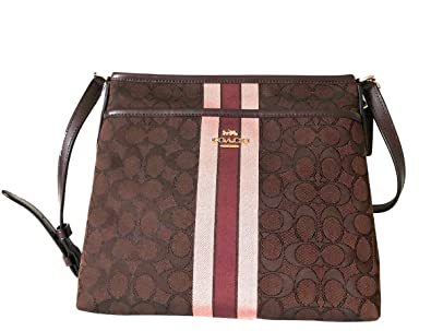 f592fd6c4 Coach Signature Jacquard Strip Zip File Crossbody Bag (IM/Brown Multi)