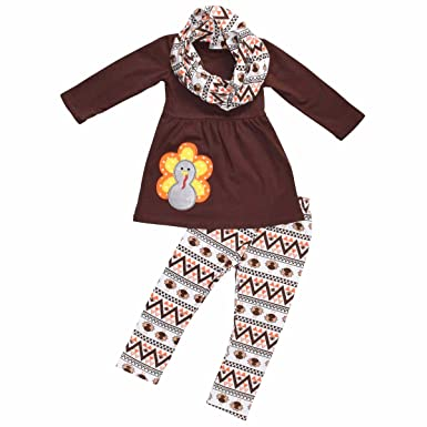 ee5fbf6f75514 Unique Baby Girls 3 Piece Matching Thanksgiving Turkey Legging Set (6) Brown