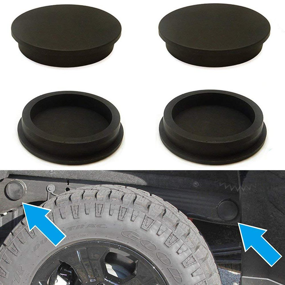 Issyzone Rubber Frame Tube Hole Plugs Cover for Chevy Silverado 1500 GMC Sierra 1500 1997-2018 Rear Wheel Well Anti-Whistle