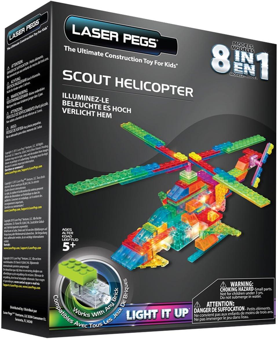 Helicopter 8-in-1 Building Set Laser Pegs LED Night Lights Imagination Kit CHOP