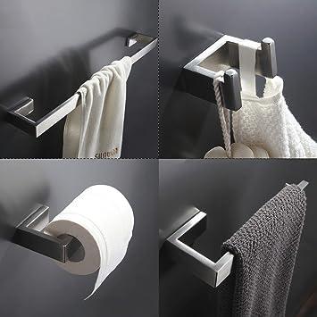 304 Edelstahl Gebürstetem Nickel Wandhalterung Bad Hardware Sets  Handtuchhalter Kleiderhaken Papierhalter Badezimmer Zubehör Set