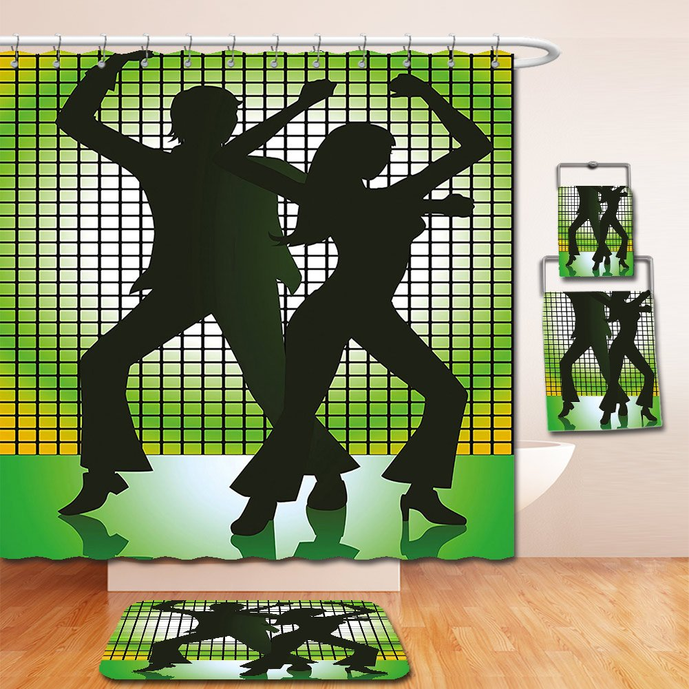 Nalahome Bath Suit: Showercurtain Bathrug Bathtowel Handtowel 70s Party Decorations Silhouette Illustration of Couple Dancing in Disco Light Green Dark Green Yellow