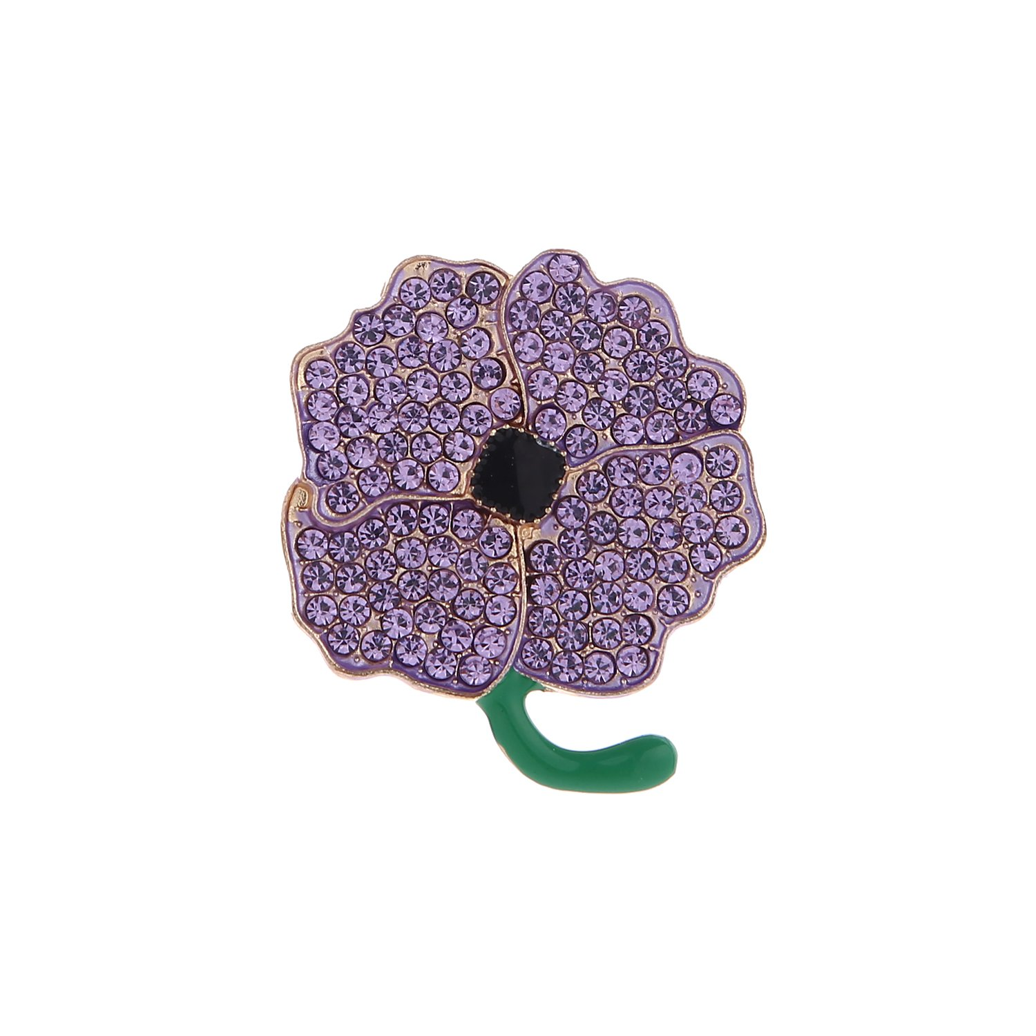 Purple Crystal Flowers Poppy Brooches for Women Hero Remembrance Day Gifts Jewelry China
