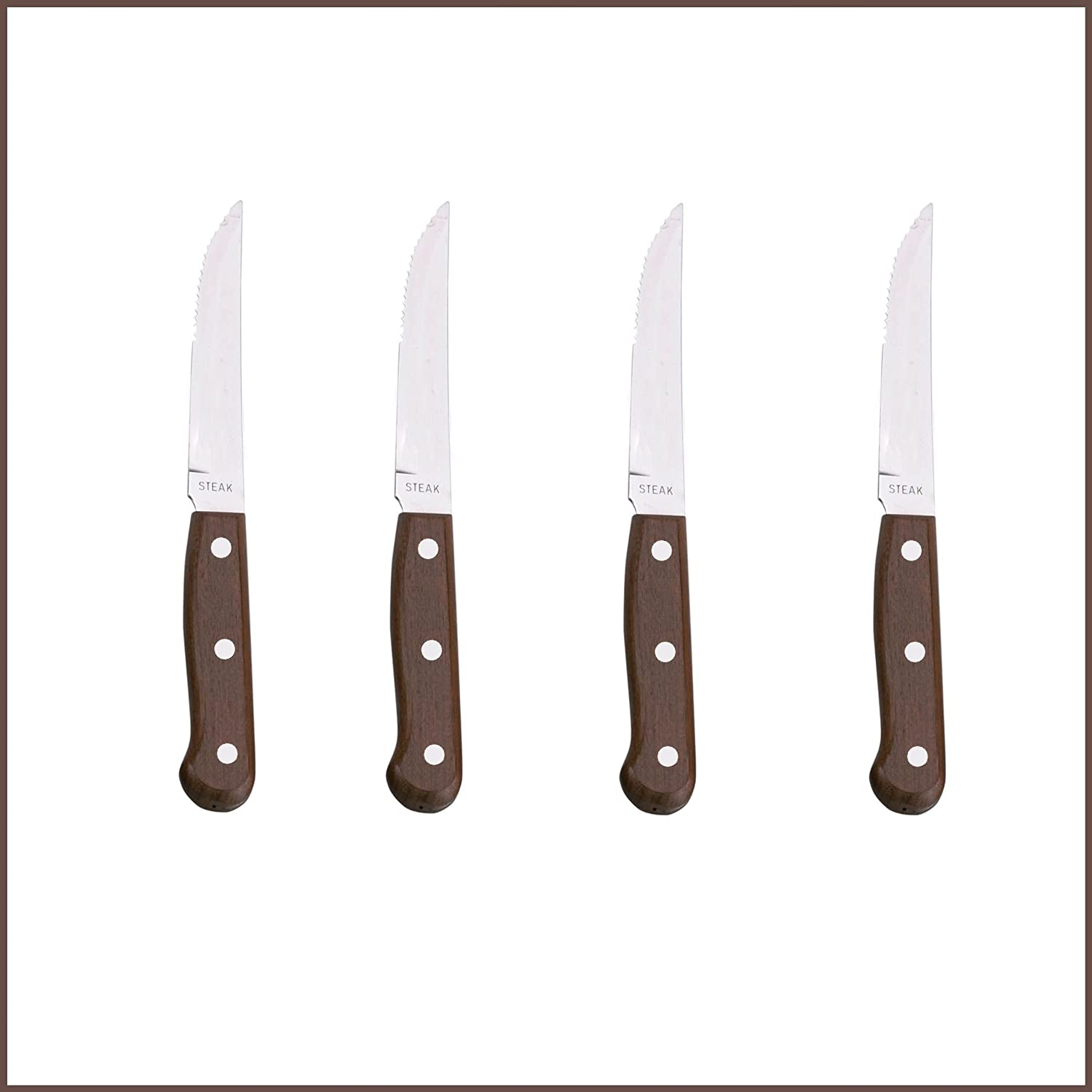FOUR Restaurant Quality Ultra Sharp Steak Knives with Dark Pear Wood Handles and Stainless Steel Blades & FREE UK Delivery