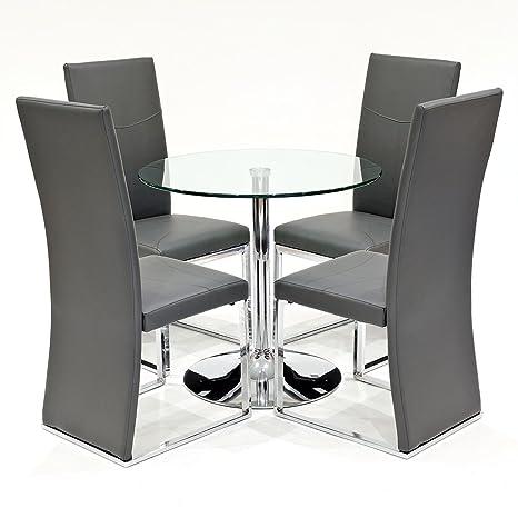 Tavolo da pranzo rotondo in vetro trasparente con 4 x grigio ...
