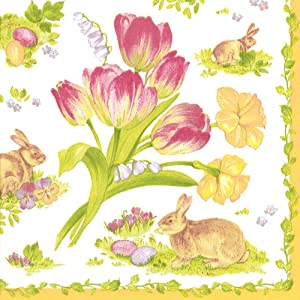 Entertaining with Caspari Luncheon Napkin, Easter Bouquet Yellow, 20-Pack
