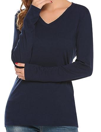 838c5ff2fff Zeagoo Women s Plus Size Long Sleeve V Neck Tee Shirt Tops Blouse Dark Blue  S